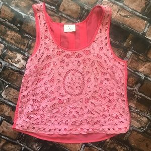 Anthropologie Pins & Needles Coral Crochet Top